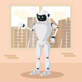 Positief robotachtig personage staan en begroeten