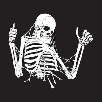 Positief skelet in het web. abstracte illustratie in zwart-wit stijl.