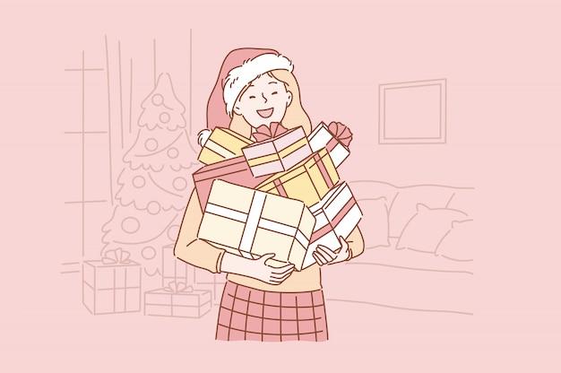 Positief, succesvol, emotioneel santa girl-concept.