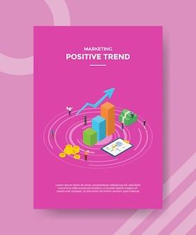 Positief trendconcept voor sjabloonbanner en flyer voor afdrukken met isometrische stijlillustratie