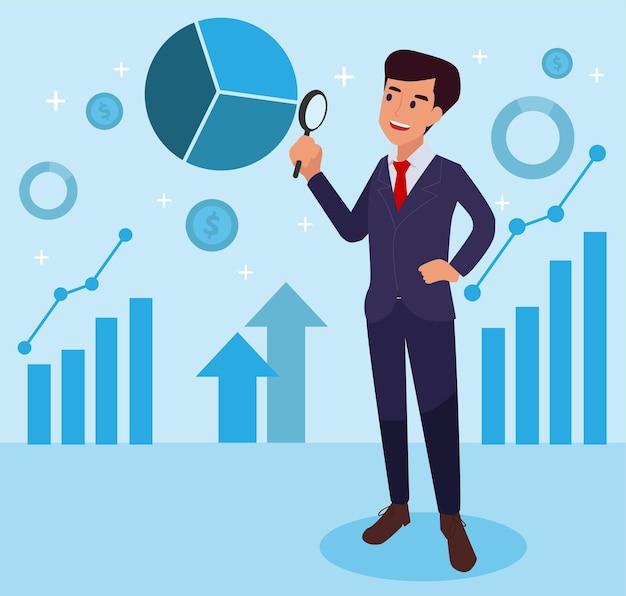 Positieve bedrijfsmens die bedrijfsdiagram toont. man met vergrootglas, zakelijke elementen
