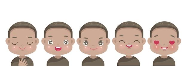 Positieve emoties set van afrikaanse kleine jongen gezicht. kind dat trots, geluk, empathie, hoop, geloof, vreugde en liefde uitdrukt