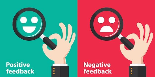 Positieve en negatieve feedback concept achtergrond