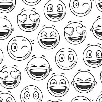 Positieve lachende gezichten achtergrond, emoticons schets lijn vector naadloze patroon