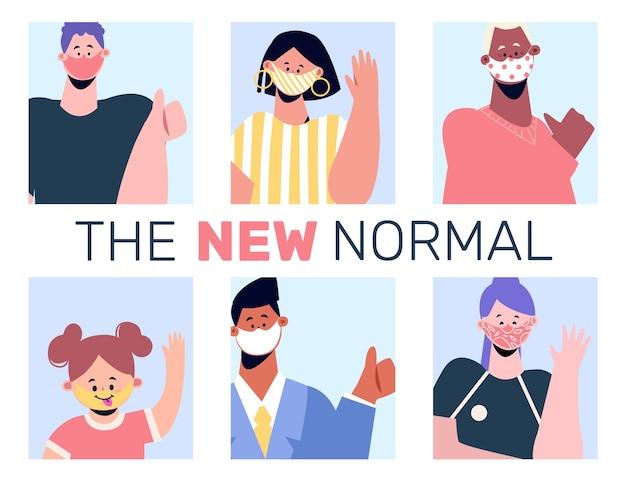 Positieve mensen die voor het nieuwe normaal staan
