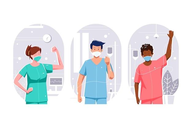 Positieve patiënten die de covid-19 bestrijden
