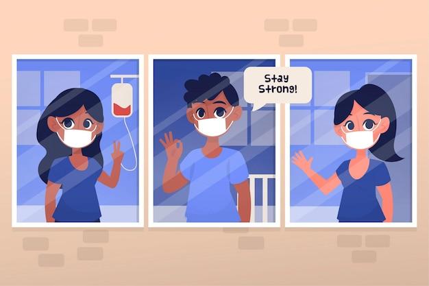Positieve patiënten die het coronavirus bestrijden