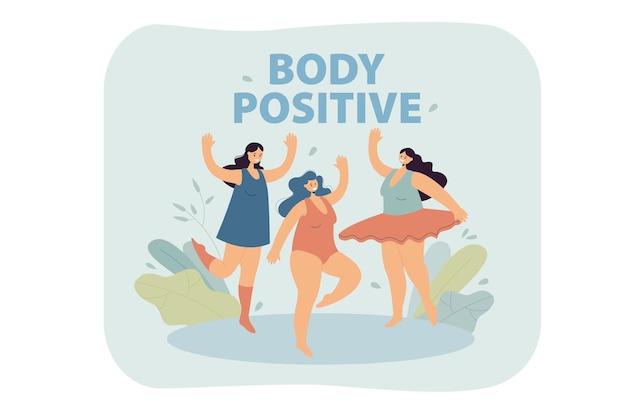 Positieve plus size vrouwen in bikini en zwembroek dansen
