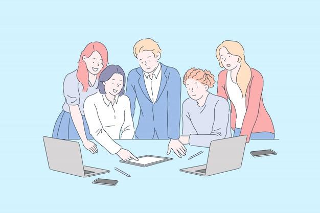 Positieve werkplekomgeving, zakelijke bijeenkomst concept