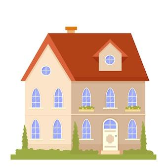 Positieve zonnige compositie met lettertype van het bouwen van huisbomen en natuur