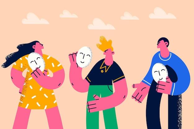 Positiviteit, veranderende stemming emoji concept. groep jongeren die glimlachende maskers emoju in handen houden die proberen te glimlachen vectorillustratie