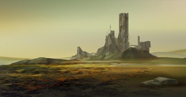 Post apocalypsscène met verwoeste stad