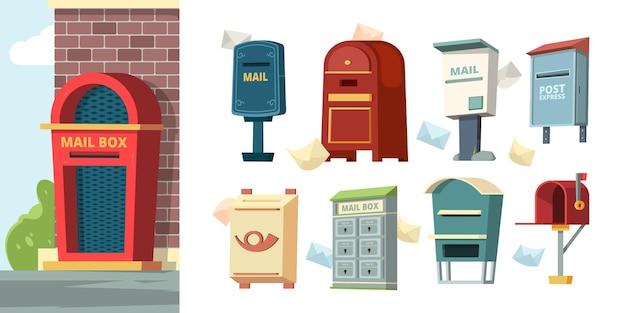 Post containers. brievenbussen met brieven envelop vectorafbeeldingen. brievenbuspost, leveringsbrief, postcontainerillustratie