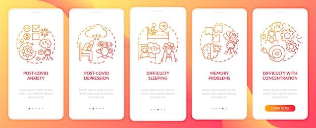Post-covid-syndroom en geestelijke gezondheid onboarding mobiele app-paginascherm met concepten. moeilijkheden met slapen door 5 stappen grafische instructies. ui-sjabloon met rgb-kleurenillustraties