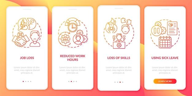 Post covid-syndroom en werkgelegenheid onboarding mobiele app-paginascherm met concepten. doorloop van baanverlies grafische instructies in 5 stappen. ui-sjabloon met rgb-kleurenillustraties