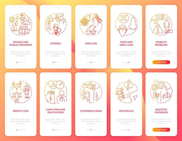Post-covid-syndroom onboarding mobiele app-paginascherm met ingestelde concepten. artralgie en gewichtsverlies walkthrough 5 stappen grafische instructies. ui-sjabloon met rgb-kleurenillustraties