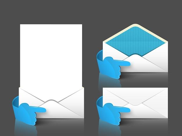 Post envelop en brief set met 3d-blauwe hand.