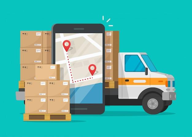 Post logistieke mobiele service of koeriersvracht vrachtvervoer levering