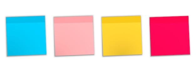 Post notitie sticker. opmerking kleverig geïsoleerd op een witte achtergrond. gekleurde kleverige notareeks. kleverige notainzameling met gekrulde hoeken en schaduwen. kleurrijke prikbordstickers, lege post-stickies