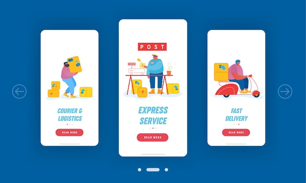 Post office service mobiele app-pagina schermset aan boord