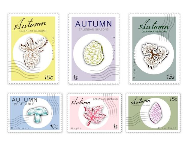 Post stempels set van herfst planten met papier gesneden art