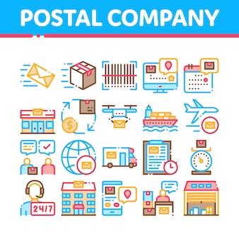 Post transportbedrijf icons set