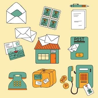 Postal-element ingesteld in cartoon-stijl