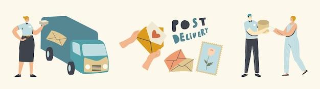 Postbezorgservice. koeriers of postbodekarakters die pakketten naar klanten op vrachtwagen brengen