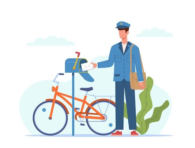 Postbode bezorgt post. postbode in blauw uniform en fiets met tas die brieven in brievenbus, envelopbericht en expresbezorging van pakjes in brievenbus levert, cartoon vector plat concept voor logistieke diensten