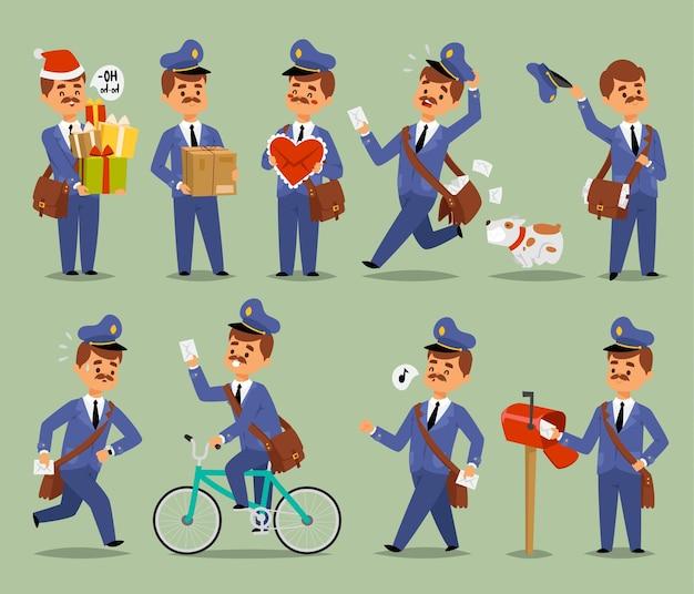 Postbode cartoon man karakter koerier bezetting vervoerder schattig snor man uniform