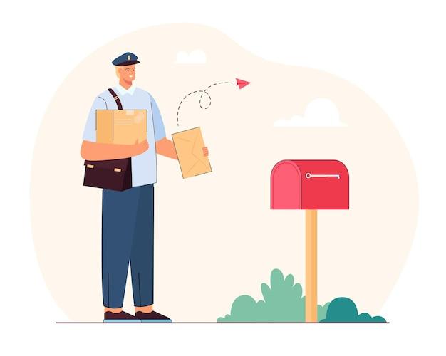 Postbode die brieven en pakjes bezorgt. vlakke afbeelding