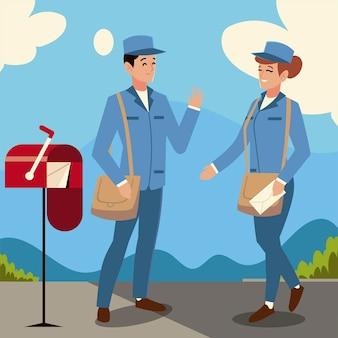Postbode en vrouw karakter brievenbus illustratie