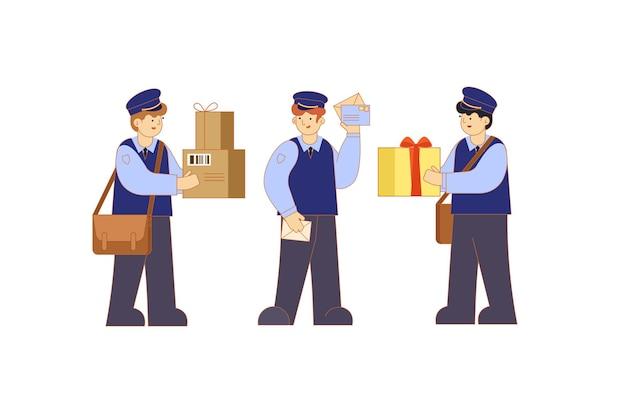 Postbode in uniform en met een tas voor brieven postbodes houden enveloppen en dozen vast