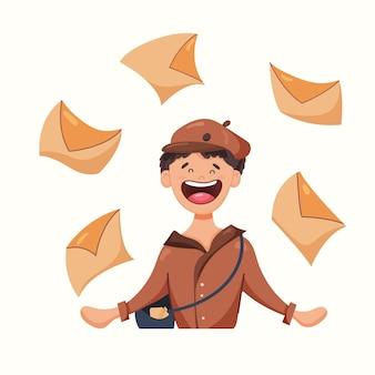 Postbode met brieven. vectorillustratie in vlakke stijl