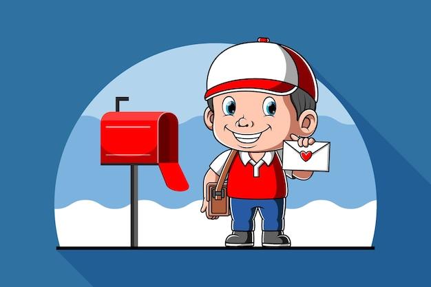 Postbode met mail in zijn hand