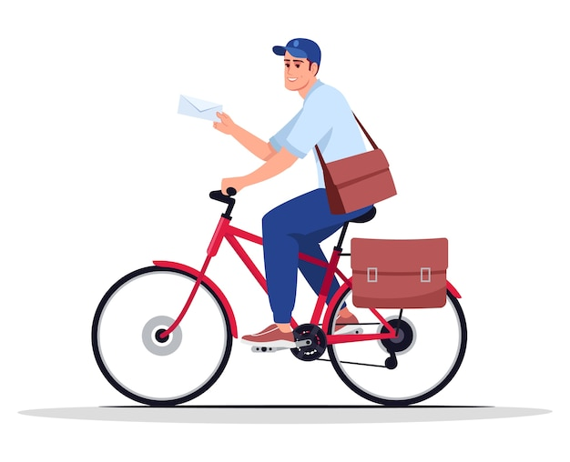 Postbode op fiets semi rgb-kleurenillustratie. postbode met envelop. postbode. postdienst mannelijke werknemer brief stripfiguur bezorgen op witte achtergrond