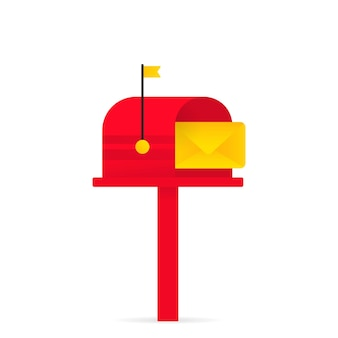 Postbus pictogram. geopende rode brievenbus met een envelop. vector op geïsoleerde witte achtergrond. eps 10