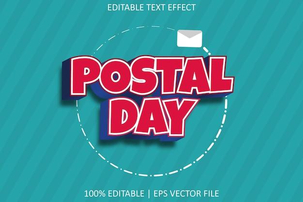 Postdag met bewerkbaar teksteffect in moderne stijl