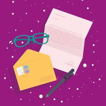 Postenvelop en brillen