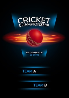 Poster, achtergrond voor cricketkampioenschap. illustratie met cricketbal en sjabloontekst