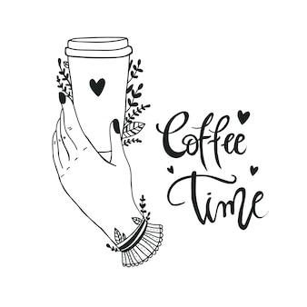 Poster afhaalmaaltijden koffiekopje met hand getrokken belettering coffee to go voor café en koffie om mee te nemen.