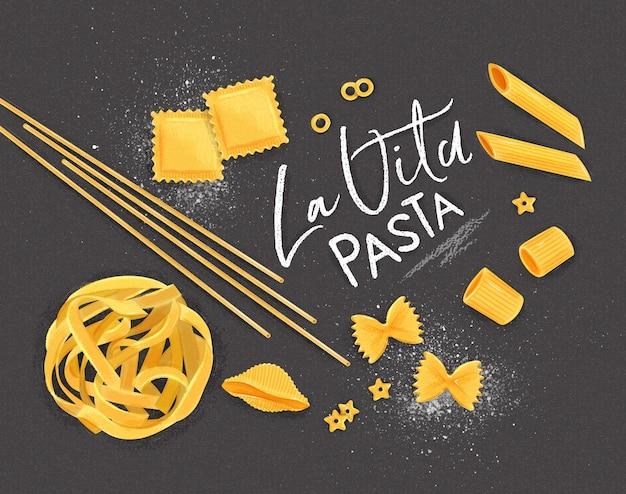 Poster belettering la vita pasta met vele soorten macaroni puttend uit grijze achtergrond.