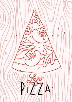 Poster belettering liefde pizza tekening met koraal lijnen op koraal achtergrond