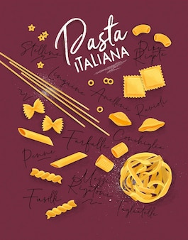 Poster belettering pasta italiana met vele soorten macaroni puttend uit karmozijnrode achtergrond.