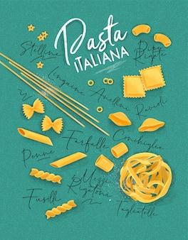 Poster belettering pasta italiana met vele soorten macaroni puttend uit turkooizen achtergrond.