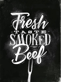 Poster belettering verse smaak gerookt rundvlees