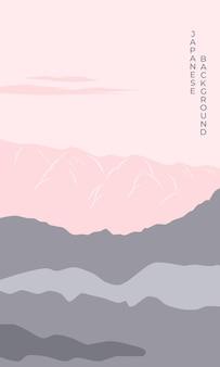 Poster berglandschap bij zonsondergang in aziatische japanse stijl achtergrond