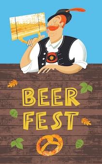 Poster bierfestival oktoberfest. duitse man met een tiroolse hoed die bier drinkt uit een grote mok. hand getekend vectorillustratie.