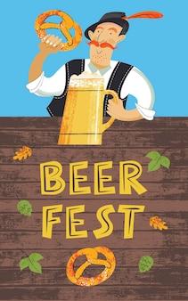 Poster bierfestival oktoberfest. een duitse man met een tiroolse hoed met een biertje en een traditionele duitse pretzel. hand getekend vectorillustratie.
