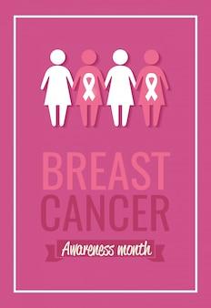 Poster borstkanker bewustzijn maand met vrouwen silhouet